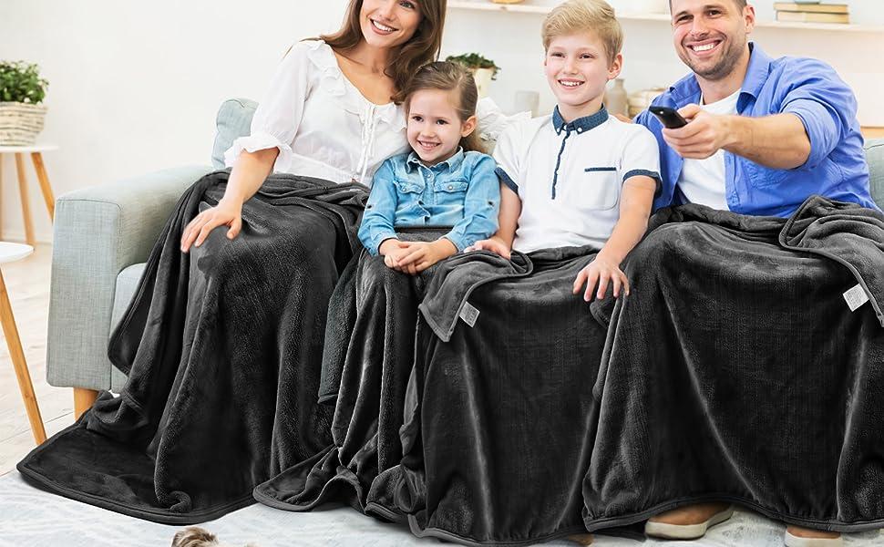 Grey Fleece Blanket Throw
