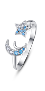 adjustable moon star ring
