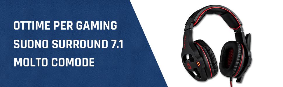 KLIM Mantis Cuffie Gaming USB - Micro Headset da Gaming - Suono Surround 7.1