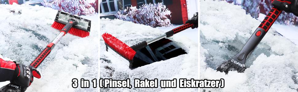 Cofit Auto Eiskratzer 3 In 1 Schneebürste Mit 270 Bürstenkopf Multifunktionale Rakel Eisschaber Und Schneebesen Für Autos Truck Suv Windschutzscheibe Rot Auto