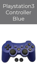 PS3 Controller Wireless Bek Joystick Thumb Grips Remote Double Shock Gamepad Sony Playstation 3 Blue
