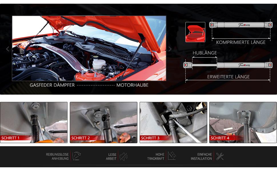 2x Gasfeder Dämpfer Motorhaube Für Z4 E86 E85 2002 2009 51237016178 Auto