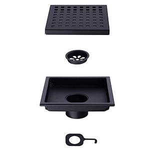 square shower drain black