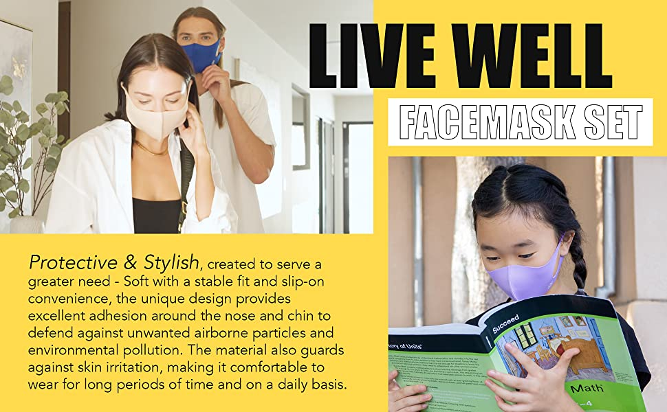 face mask for adults and kids protect against lightweight adjustable color