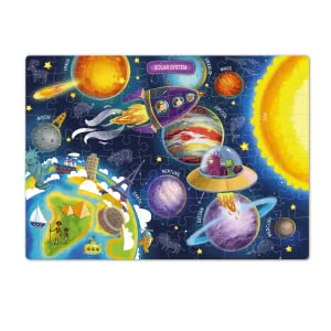 Kids Boys Girls 4 5 6 7 8 Year Old Age 100 Piece 60 Puzzle Puzzles Piece Galaxy Space Map World Toys