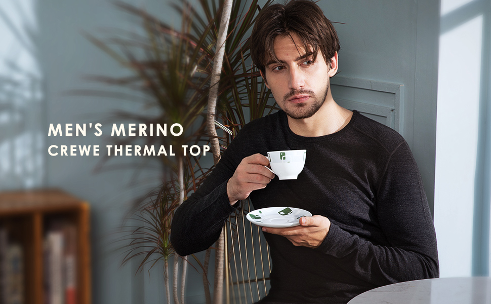 Men's 100% Merino Wool Long Sleeve Thermal Tee 260g Base Layer Crew Underwear T Shirt -Warm Winter