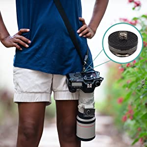 neck and shoulder strap with a rugged stainless-steel screw mount rubber padding to protect camera