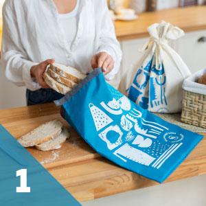 sliced sourdough bread in reusable rpet bread bag