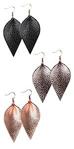 women genuine leather earrings