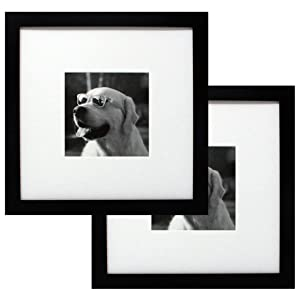 10x10 Black Gallery Picture Frame 2-Pack with Mat to 5x5