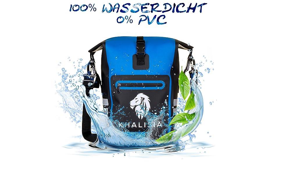 Gepäckträgertasche Fahrradtasche Rucksack Wasserdicht Waterproof Blau Khalisia Damen Rucksack klein