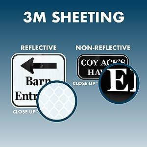 Close up of 3M EGP amp; 3M Non-Reflective Sheeting