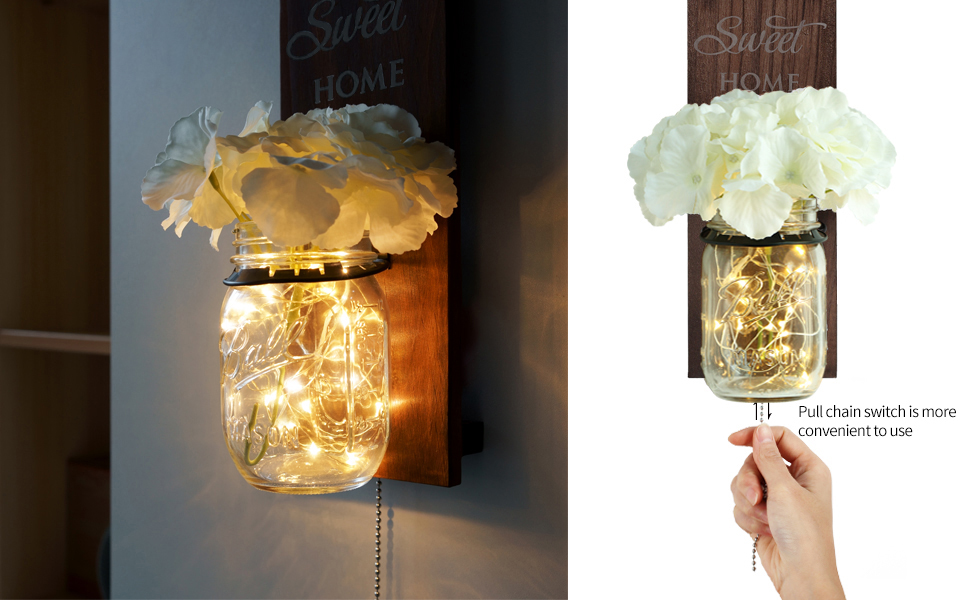 Seasonal Interchangeable Colorful Flowers and LED Strip Lights Design for Home Living Room Decoration Set of 2 TJ.MOREE Coastal Mason Jar Wall Decor Sconces Vintage Home Decor with Pull Chain Switch