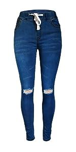 black drawstring elastic waistband ripped jeans denim pants for women ladies skinny mid-waist