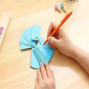 Blank Index Cards with Rings, Mini Flash Cards with Binder Rings, Multicolor Kraft Paper Note Card
