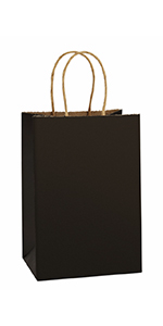 """BagDream 5.25x3.75x8"""" Black Paper Bags 50PCS"""
