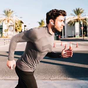 running man bluetooth headphones listening music sports