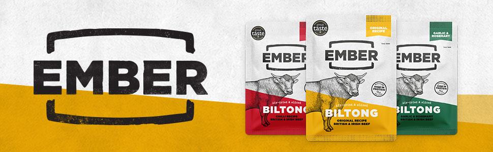 Ember Biltong 1kg – Beef Jerky - Cecina de Vaca - Aperitivo alto en Proteínas - Original (2x500g)