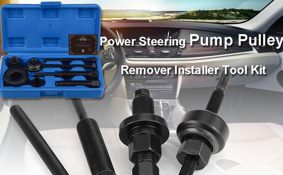 Power Steering Pump Pulley Remover Installer Tool Kit – Puller Removal Set for GM, Ford, Chrysler