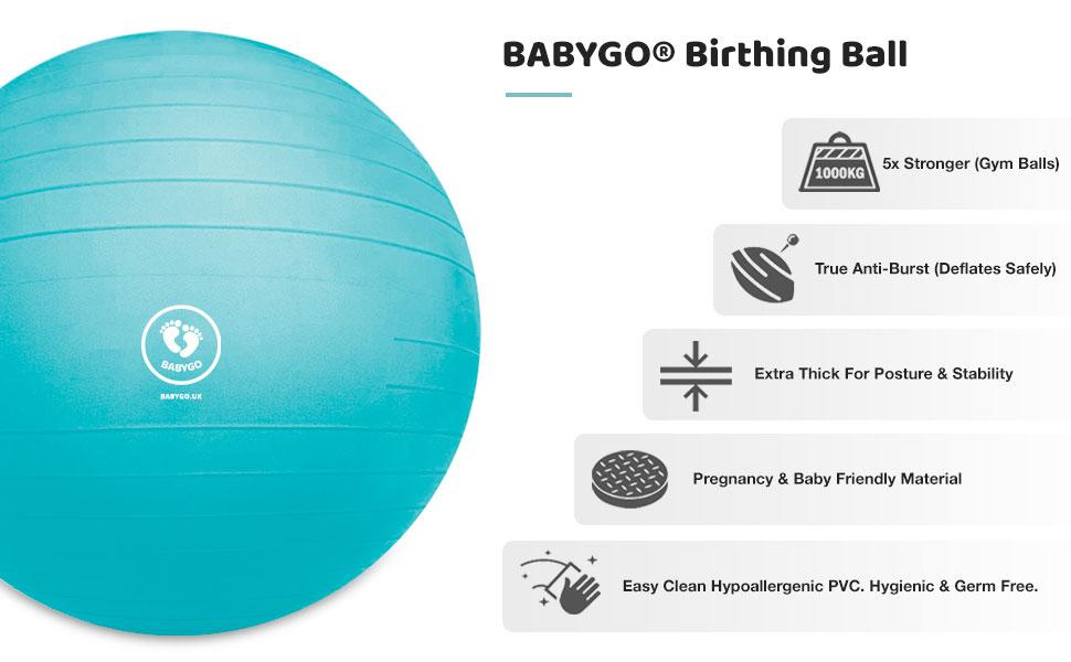 No Book /& Box Maternity Ball For Pregnancy BABYGO Labour Ball /& Yoga