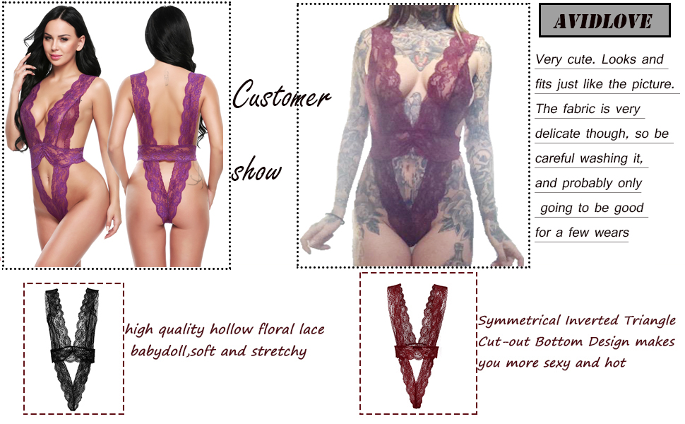 Avidlove Womens Lingerie Lace Babydoll Halter Bodysuit One Piece Teddy