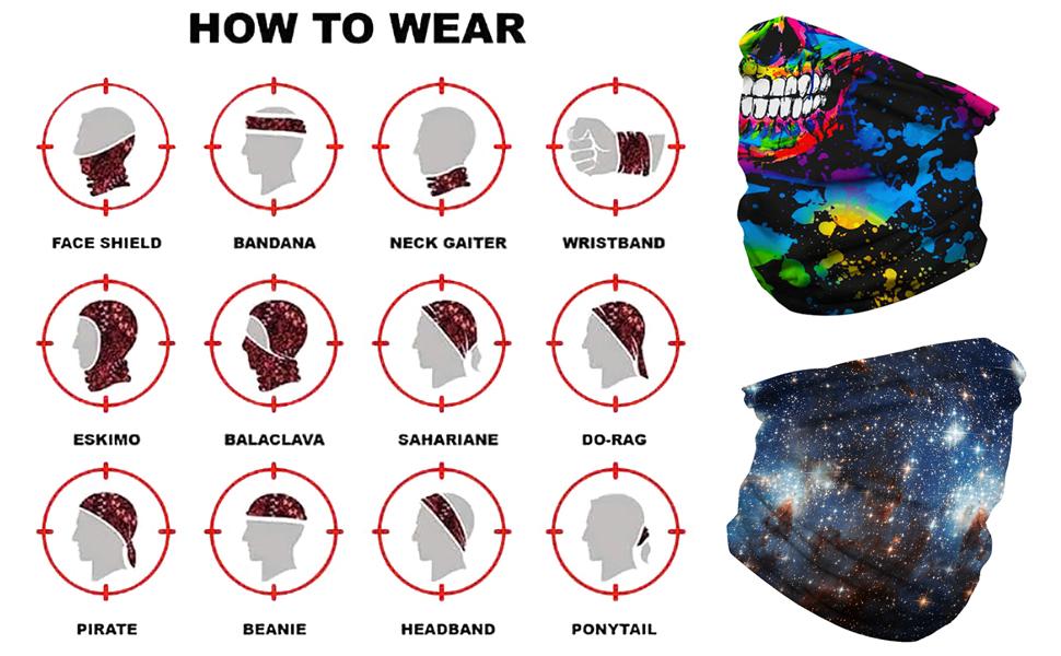 Rave Bandana Neck Gaiter Tube Mask Headwear