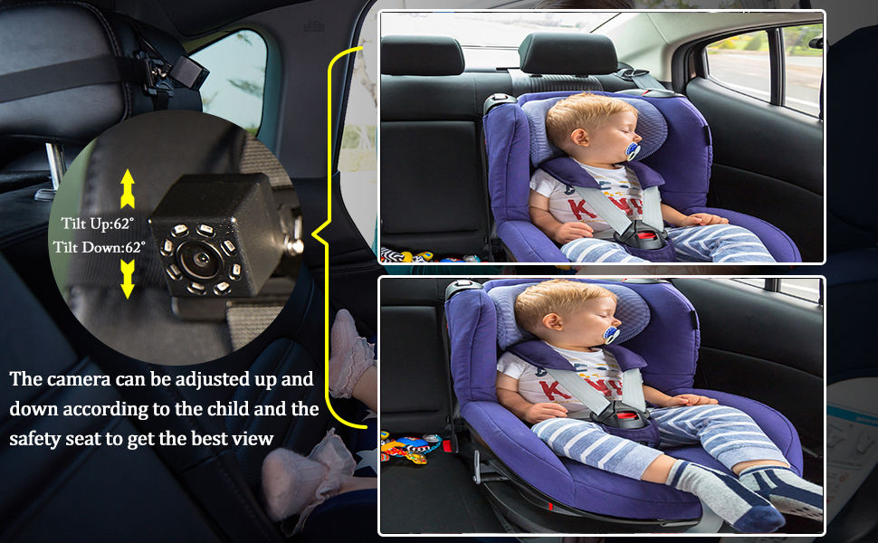 baby car monitor,car baby monitor with camera,carseat camera rear facing infant baby backseat camera - Baby-Mirror For-Car Back-Seat - Baby Car Camera With Night Vision, View Infant In Rear Facing Seat With 4.3-Inch HD Display, Observe The Baby's Every Move At Any Time While Driving