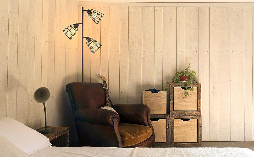Farmhouse Rustic Industrial Black Tree Floor Lamps