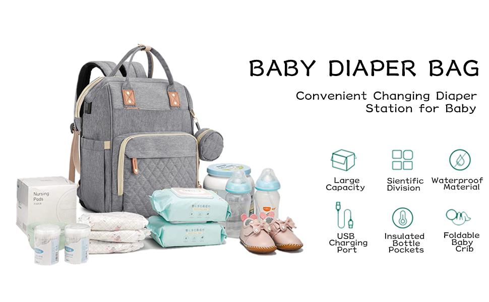 diaper bag baby diaper backpack newborn girls boys changing diaper station baby crib mommy bag