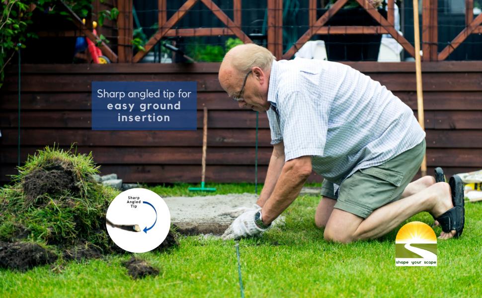 Sharp 45 degree angled tip for easy/effortless ground insertion