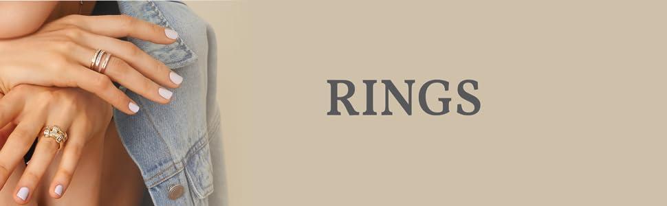 bands stack rose white gold 10k 14k 18k classic timeless basic essential simple plain fancy elegant