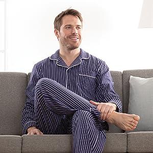 Man in blue pajama set
