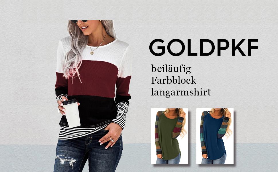 GOLDPKF Langarmshirt Damen Gestreift Rundhals Longsleeve Tshirt Beliebten Pullover Basic Bekleidung