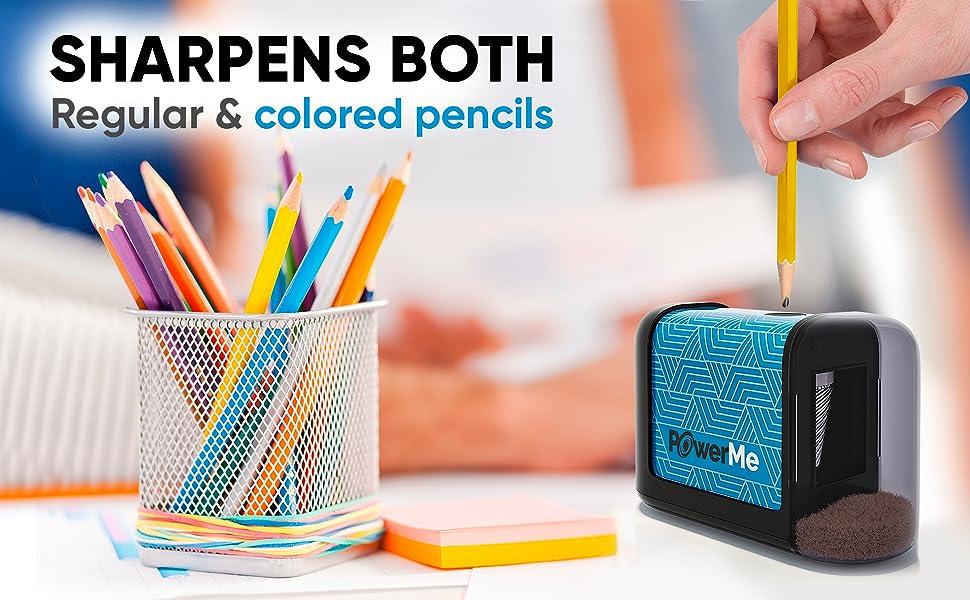 Powerme Electric Pencil Sharpener - Sharpens Regular & Colored Pencils