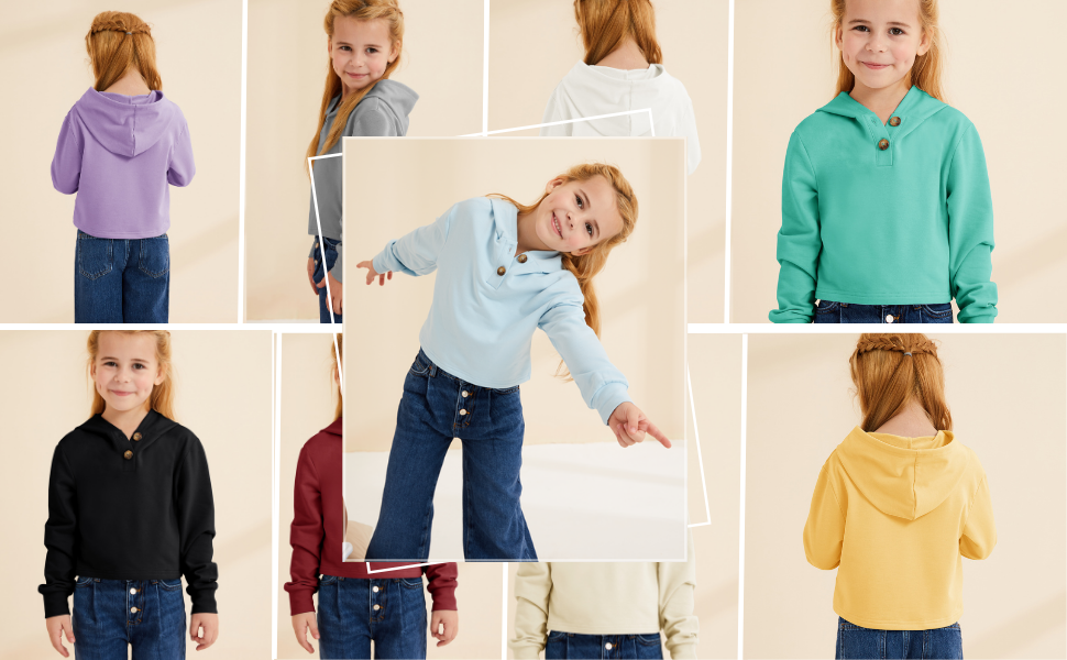 Kids Girls Cropped Hoodie Button Up Casual Loose Active Short Pullover Sweatshirt