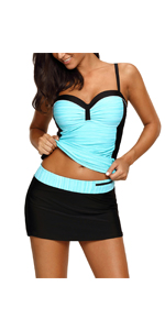 Women Ruched Color Block Tankini Swimsuit