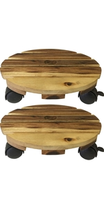 Round Wood Plant Caddy - 2 pack