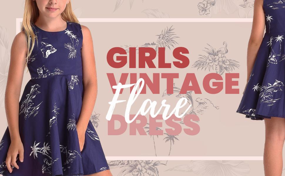Hawaii Hangover Girl's Vintage Flare Dresses Hawaiian Matching Sets Style Patterns