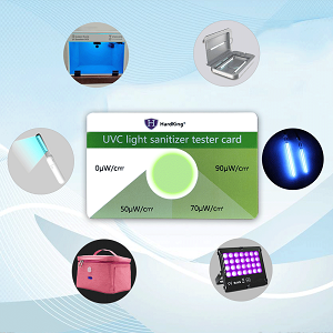 test all uv-c device with Green card & purple card & strips