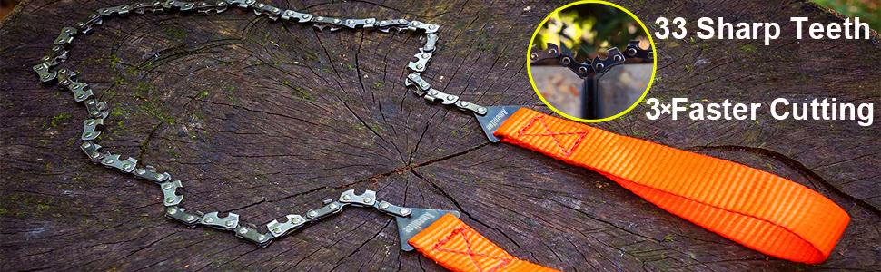 Rehomy Sierra de Cadena de Supervivencia con Bolsa de Engranaje de Bolsillo Herramienta de Kit de Campamento de Emergencia de Motosierra Manual