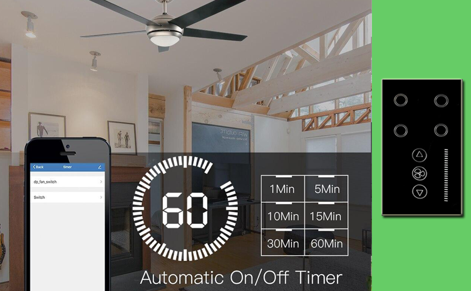 Home Automation Switch,Alexa Touch Switch, 4 Gang Switch, WiFi Fan Switch, Dimmer,Ceiling Fan Switch