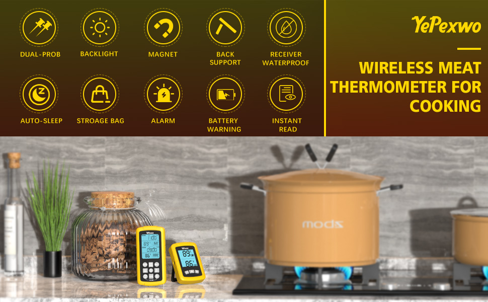 yepexwo meat thermometer for grill