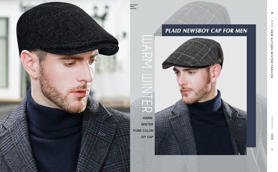 Winter Men Beanie Brim Baseball Grid Ivy Cap Visor Knit Skull Flat Newsboy Beret