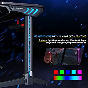 rgb light gaming desk