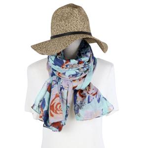 Cyan Rose Print Summer Scarves