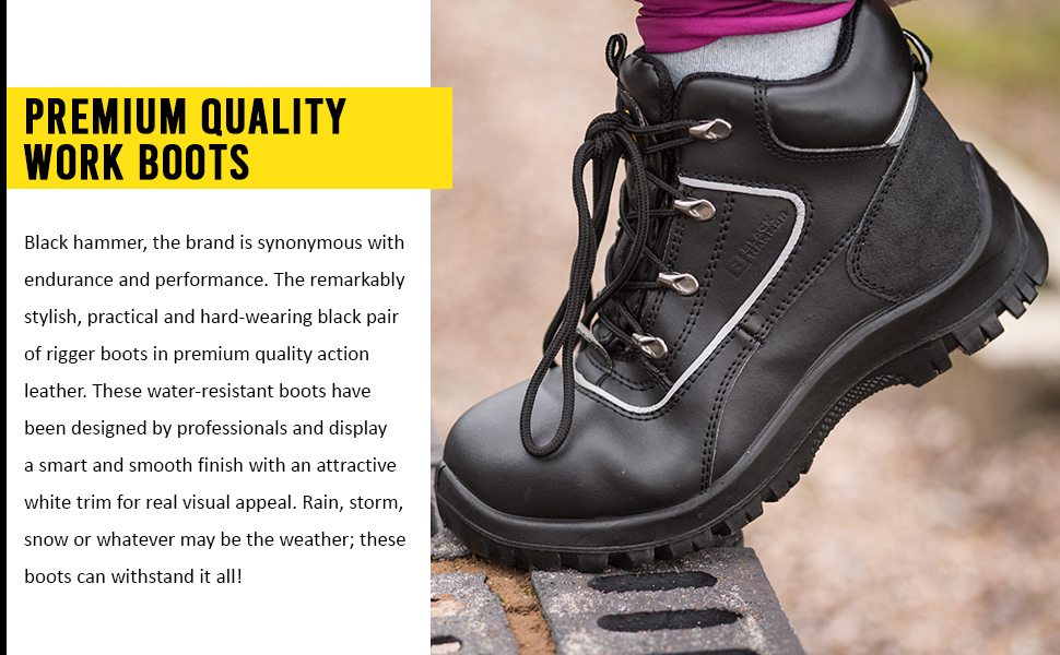Premium quality work boots are water resistant and long lasting lightweight soles
