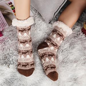 Emooqi Slipper Socks Soft Fuzzy Socks//Winter Knit Socks Casual Knitting Non-Slip Socks for Winter Daily Wear