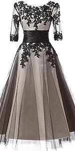 scoop neckline black lace mother of bride dress