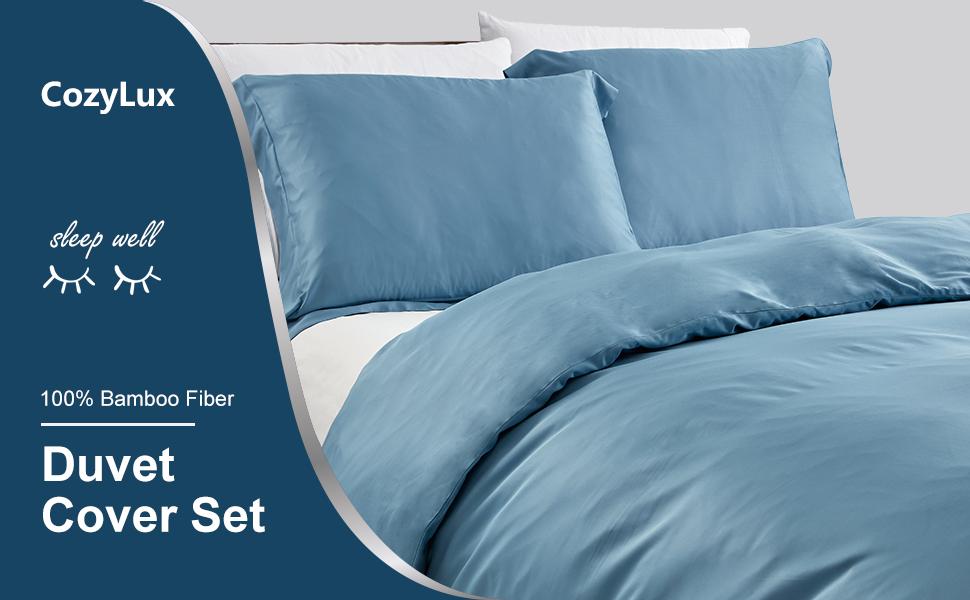 CozyLux Bamboo Duvet Cover Cooling Soft Bed Duvet Cover Set