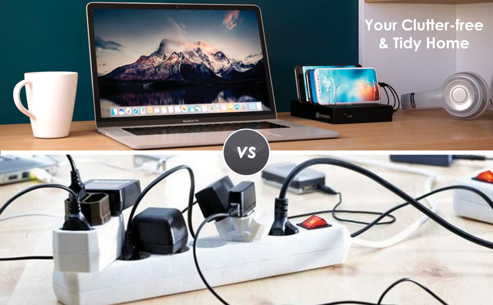 multi IPhone charging station with cables Apple iPad Charging Stations Clutter free Samsung charger